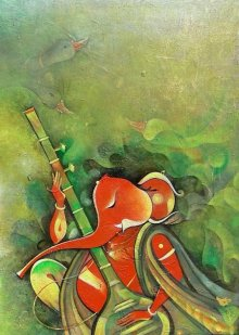 Religious Acrylic Art Painting title 'Ganesha Playing Instrument I' by artist M Singh