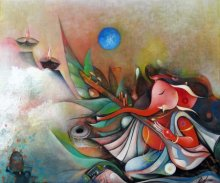 Religious Acrylic Art Painting title 'Ganesha Playing Instrument II' by artist M Singh
