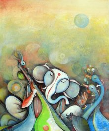 Religious Acrylic Art Painting title Ganesha Playing Instrument III by artist M Singh