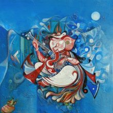 M Singh | Acrylic Painting title Ganesha Playing Instrument IV on Canvas | Artist M Singh Gallery | ArtZolo.com