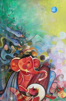 M Singh | Acrylic Painting title Ganesha Playing Instrument V on Canvas | Artist M Singh Gallery | ArtZolo.com