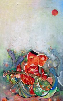 M Singh | Acrylic Painting title Ganesha Playing Instrument VI on Canvas | Artist M Singh Gallery | ArtZolo.com
