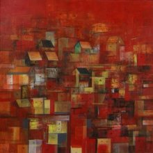 Abstract Acrylic Art Painting title The Houses by artist M Singh