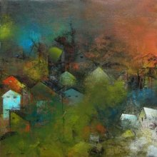 Abstract Acrylic Art Painting title 'The Village Road' by artist M Singh