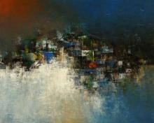 Abstract Acrylic Art Painting title Untitled by artist M Singh