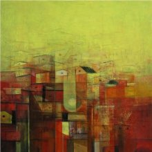 Abstract Acrylic Art Painting title Urban City View by artist M Singh