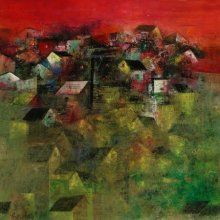Abstract Acrylic Art Painting title Village Houses by artist M Singh