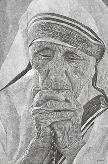 Figurative Pen Art Drawing title 'Epitome Of Compassion' by artist Surya Murthy