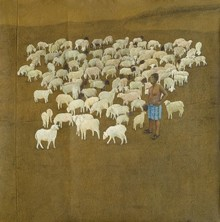 Figurative Acrylic-charcoal Art Painting title 'Baa Baa White Sheep' by artist Santanu Debnath