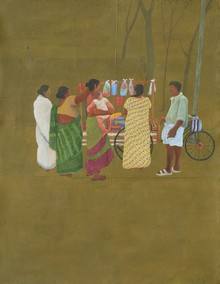 Figurative Acrylic-charcoal Art Painting title 'Hawkers And Villagers' by artist Santanu Debnath