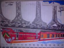 Transportation Pastel Art Drawing title A Fast Train by artist Moazzambeg Mirza