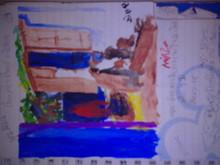 Cityscape Pastel Art Drawing title A Village Life by artist Moazzambeg Mirza