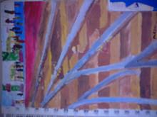 Cityscape Pastel Art Drawing title Ahmedabad Railway Station by artist Moazzambeg Mirza