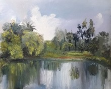 Landscape Oil Art Painting title Landscape 1 by artist Pabitra Kundu
