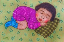 Expressionist Dry-pastel Art Painting title Lullaby 20 by artist Meena Laishram