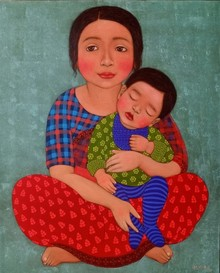 Figurative Dry-pastel Art Painting title 'Mother and child' by artist Meena Laishram