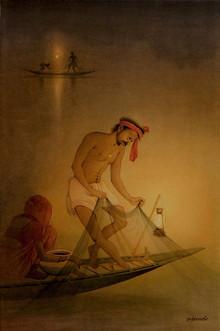 Figurative Watercolor Art Painting title Fisherman 1 by artist Rajib Gain