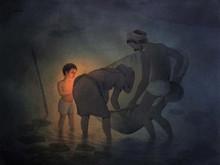 Figurative Watercolor Art Painting title Fisherman 2 by artist Rajib Gain