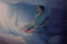 Figurative Watercolor Art Painting title Good Morning by artist Rajib Gain