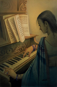 Figurative Watercolor Art Painting title Musician 2 by artist Rajib Gain