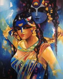 Rajeshwar Nyalapalli Paintings | Acrylic Painting - Shiv Parvati In Rhythm Iv by artist Rajeshwar Nyalapalli | ArtZolo.com