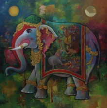 N P Rajeshwarr Paintings | Acrylic Painting - Gajendra Moksha by artist N P Rajeshwarr | ArtZolo.com