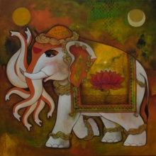 Animals Acrylic Art Painting title 'Iravath' by artist N P Rajeshwarr