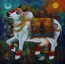 N P Rajeshwarr Paintings | Acrylic Painting - Kamadhenu by artist N P Rajeshwarr | ArtZolo.com