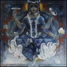 N P Rajeshwarr Paintings | Acrylic Painting - Kushmanda by artist N P Rajeshwarr | ArtZolo.com