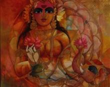 N P Rajeshwarr Paintings | Acrylic Painting - Lakshmi by artist N P Rajeshwarr | ArtZolo.com