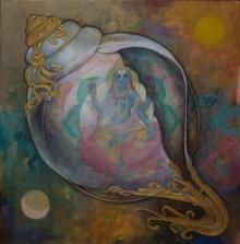 N P Rajeshwarr Paintings | Acrylic Painting - Panchajanyam by artist N P Rajeshwarr | ArtZolo.com