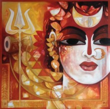 Rajeshwar Nyalapalli Paintings | Acrylic Painting - Radhakrishna by artist Rajeshwar Nyalapalli | ArtZolo.com