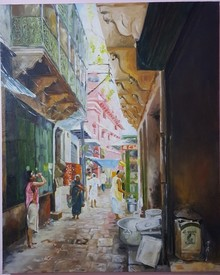 Cityscape Oil Art Painting title Banaras Morning by artist Rishikesh Vishwakarma