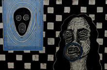 Portia Roy | Bol Ke Labz Azaad Hay Terey Printmaking by artist Portia Roy | Printmaking Art | ArtZolo.com