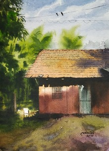 Landscape Watercolor Art Painting title Sunlight On Old House by artist Niketan Bhalerao