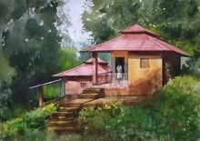 Landscape Watercolor Art Painting title Konkan Diaries by artist Niketan Bhalerao