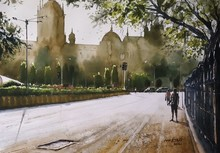 Cityscape Watercolor Art Painting title Morning Glory at CST by artist Niketan Bhalerao