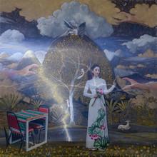 contemporary Mixed-media Art Painting title Dreamland by artist Santosh Jain
