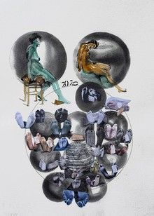 Figurative Mixed-media Art Painting title Lockdown 3 by artist Santosh Jain