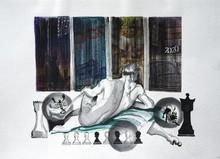 Figurative Mixed-media Art Painting title Unlock 8 by artist Santosh Jain