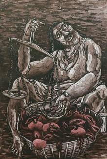 Charandas Jadhav | Bazaar 5 Printmaking by artist Charandas Jadhav | Printmaking Art | ArtZolo.com