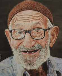 Portrait Watercolor Art Painting title Old Laughter by artist Raksha Ranganath