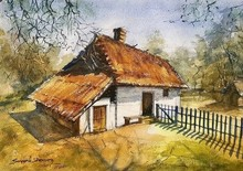 Landscape Watercolor Art Painting title House by artist KS Farvez