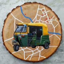 Transportation Acrylic Art Painting title Autorickshaw by artist Raju Sarkar