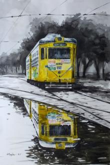 Cityscape Watercolor Art Painting title Kolkata Tram by artist Raju Sarkar