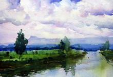 Landscape Watercolor Art Painting title Untitled 10 by artist Azharuuddin Inamdar