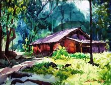 Landscape Watercolor Art Painting title Untitled 6 by artist Azharuuddin Inamdar