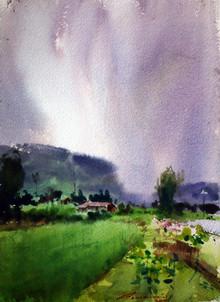 Landscape Watercolor Art Painting title Untitled 9 by artist Azharuuddin Inamdar