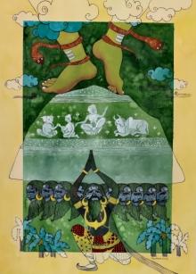 Religious Watercolor Art Painting title Garvantak by artist Yojana Dehankar