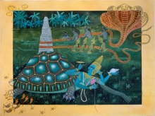 Religious Watercolor Art Painting title Kurmavatar by artist Yojana Dehankar